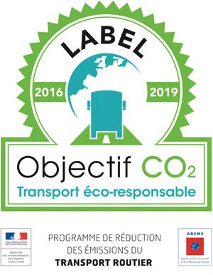 Tampon de certification Label Objectif CO² mis en place par l'ADEME pour les transports routiers éco-responsables.
